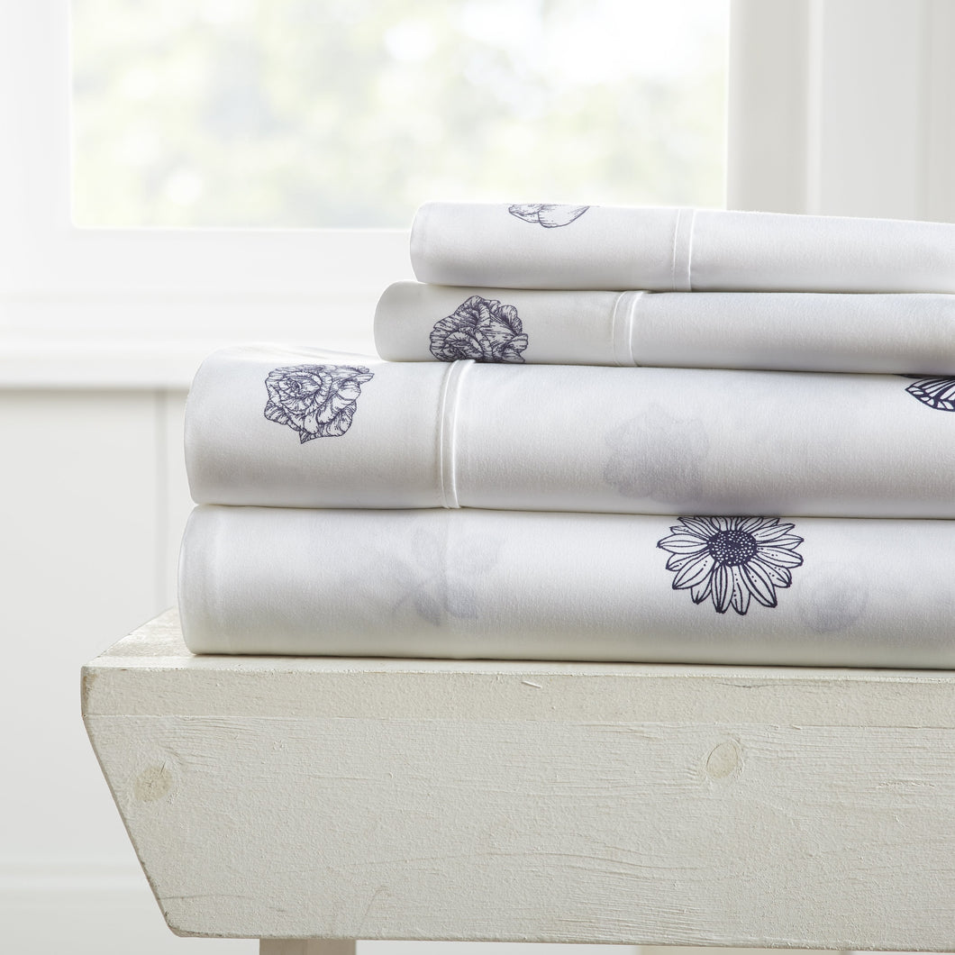 Sheets, Indigo Flowers Patterned 4-Piece Sheet Set, Linens And Hutch