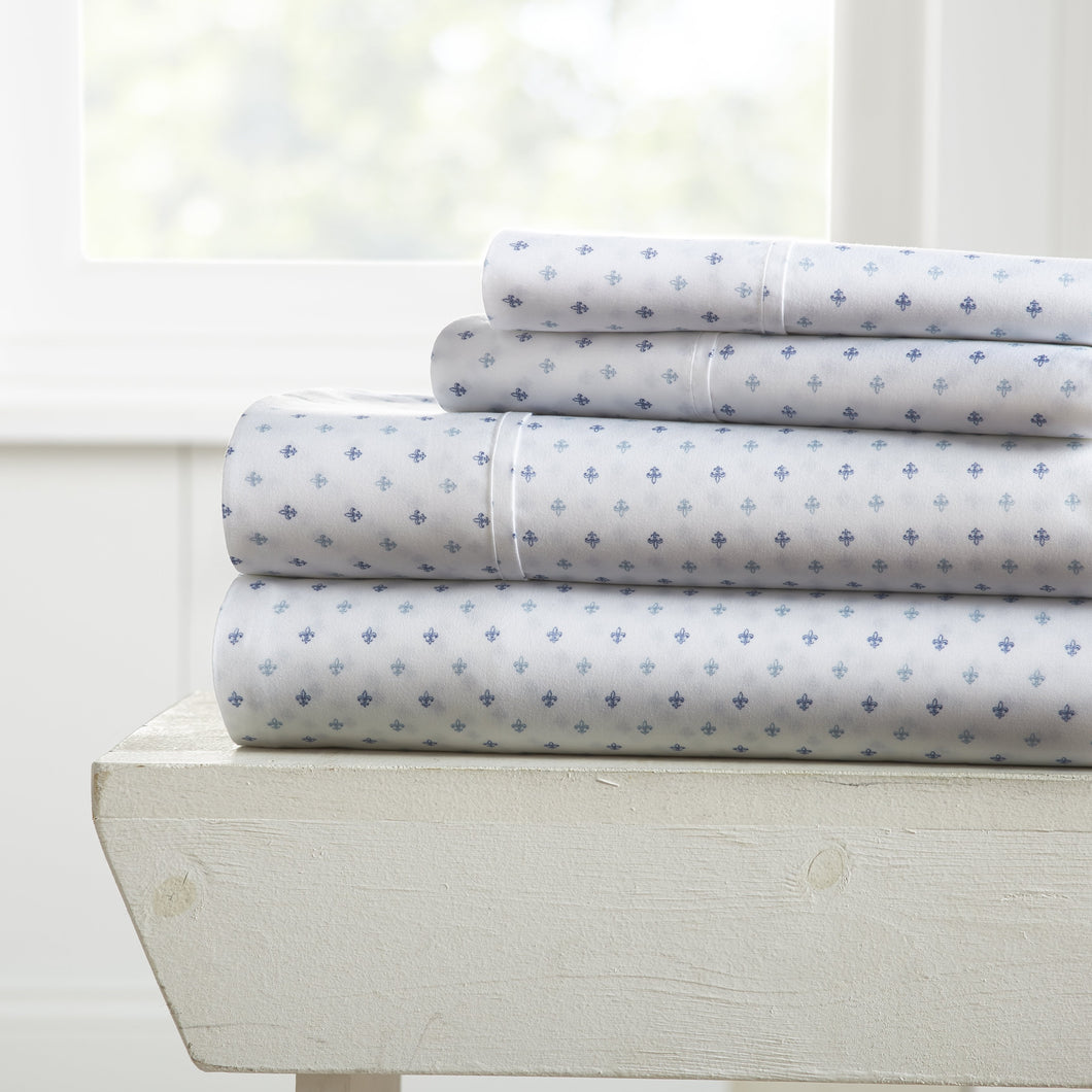 Sheets, Lily Patterned 4-Piece Sheet Set, Linens And Hutch