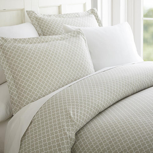 Quatrefoil Patterned 3-Piece Duvet Cover Set - Comforters- Linens and Hutch