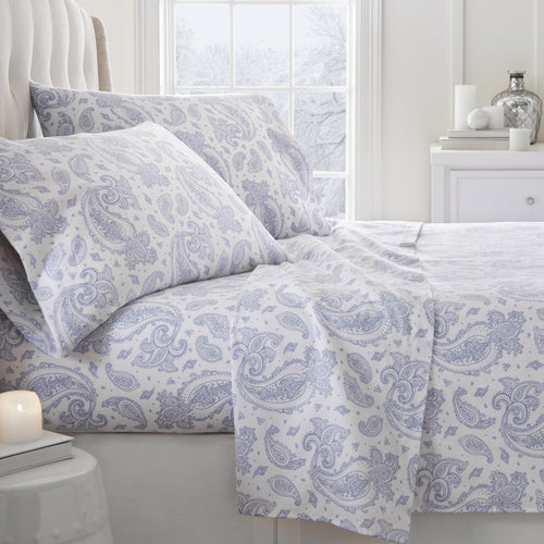 4-Piece Flannel Paisley Sheet Set - Sheets - Linens and Hutch