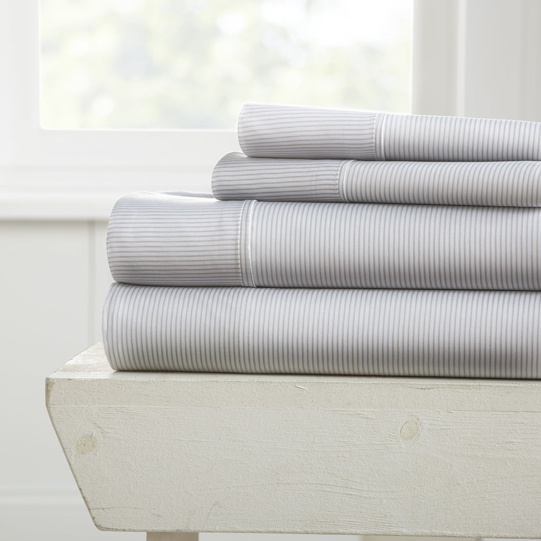 Sheets, Pinstriped Patterned 4-Piece Sheet Set, Linens And Hutch