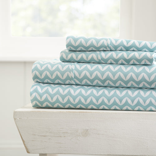 Puffed Chevron Patterned 4-Piece Sheet Set - Sheets - Linens and Hutch