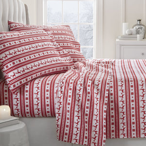 4-Piece Flannel Reindeer Sheet Set - Sheets - Linens and Hutch