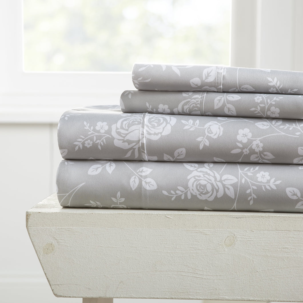 Sheets, Rose Gray Patterned 4-Piece Sheet Set, Linens And Hutch