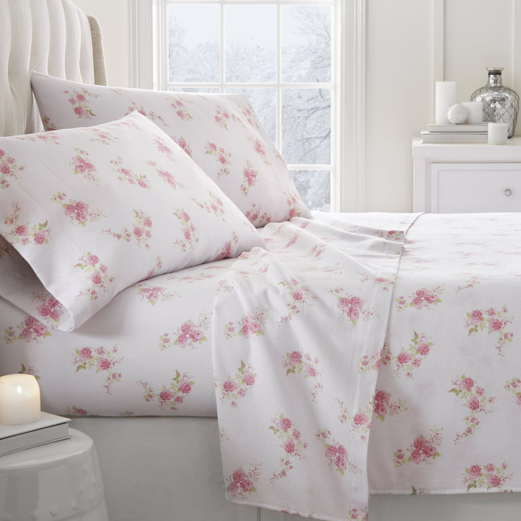 4-Piece Flannel Rose Sheet Set - Sheets - Linens and Hutch