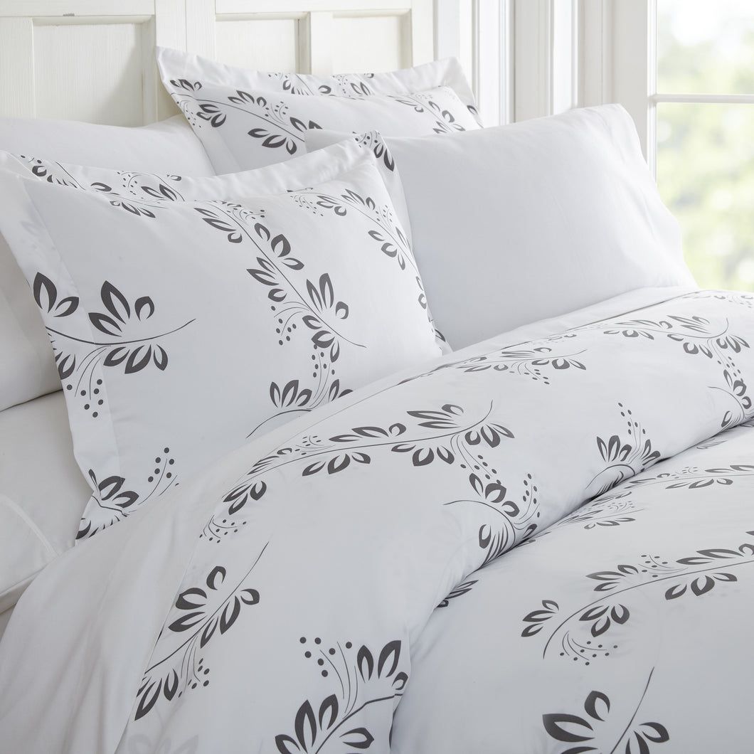 Simple Vine Patterned 3-Piece Duvet Cover Set - Comforters - Linens and Hutch