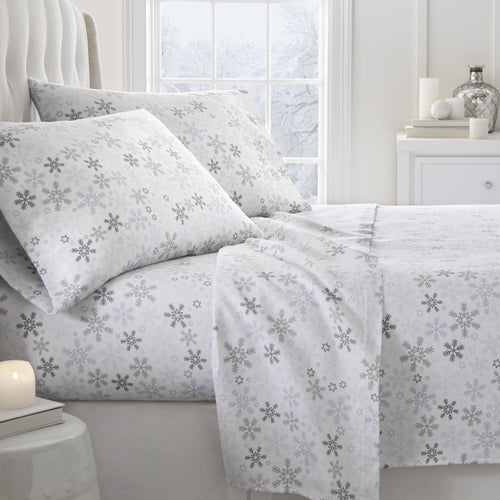 4-Piece Flannel Snow Sheet Set - Sheets - Linens and Hutch