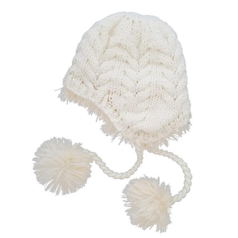 Cream Cozy Earflap Beanie Hat - Beanie Hats