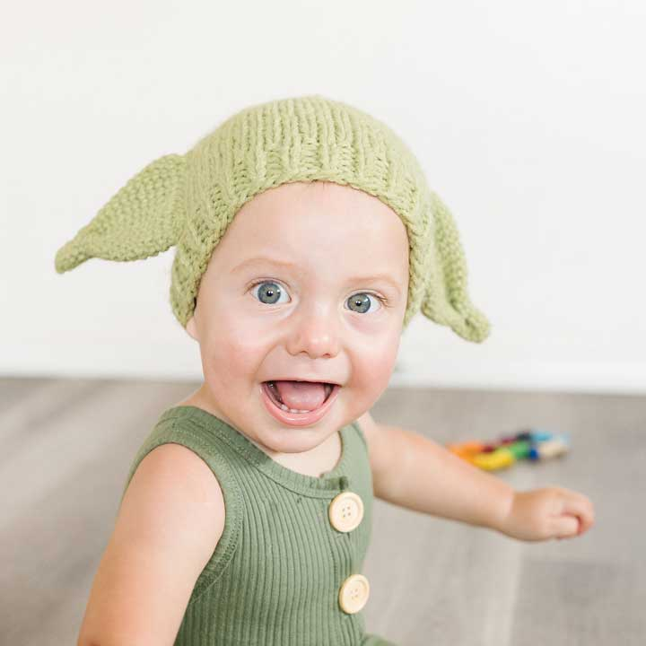 Green Alien Knit Beanie Hat