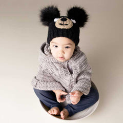Black Bear Knit Beanie Hat