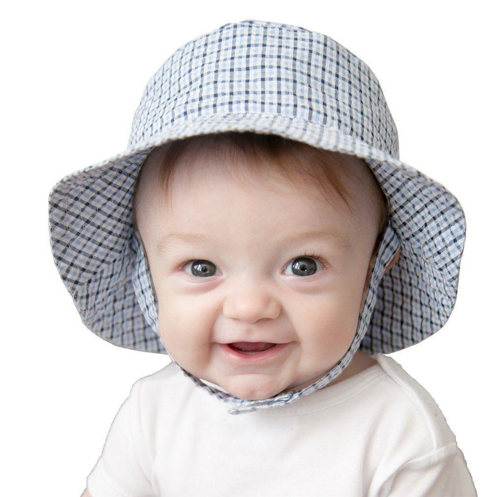 Blue Plaid UPF 25+ Seersucker Bucket Hat - Huggalugs-Sunhat