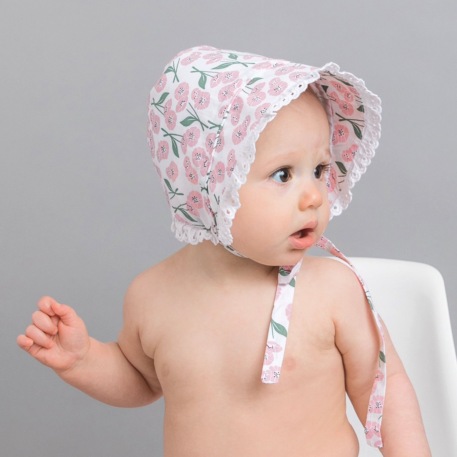 Blush Pink Poppy Bonnet UPF 25+