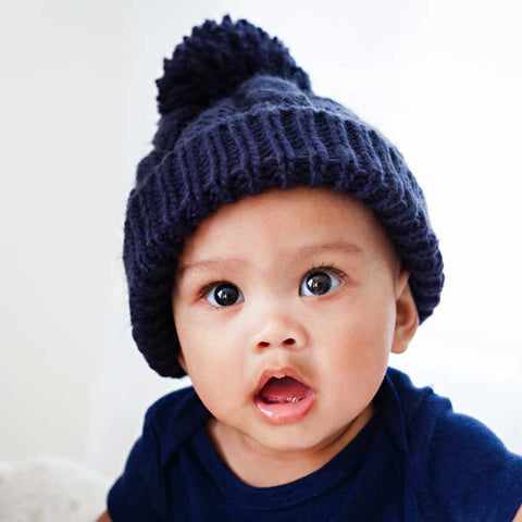 Indigo Cable Knit Beanie Hat