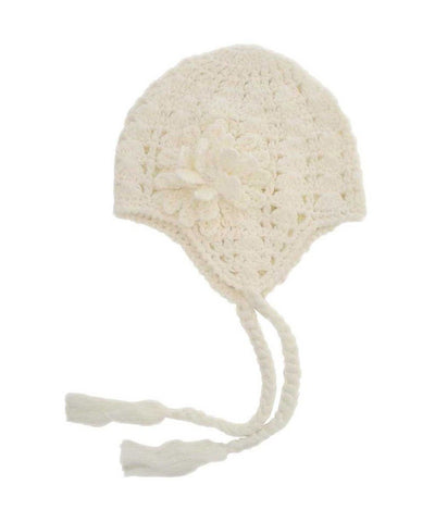 Cream Lacy Flowered Earflap Beanie-Huggalugs