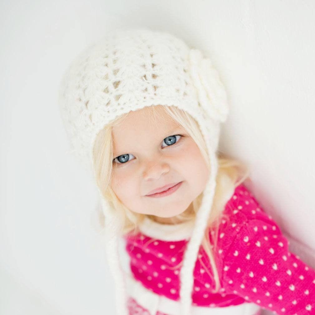 Cream Lacy Flowered Earflap Beanie - Beanie Hats