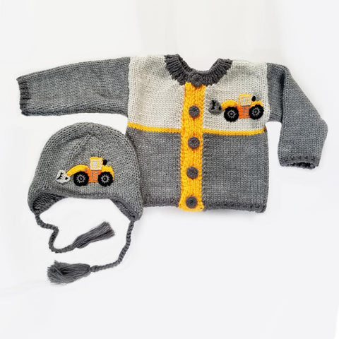 Digger Backhoe Sweater-Huggalugs