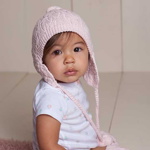 Filigree Blush Pink Lace Beanie Hat-Huggalugs