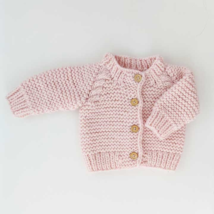 Blush Pink Garter Stitch Cardigan Sweater