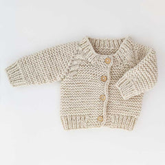 Natural Garter Stitch Cardigan Sweater