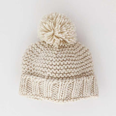Natural Garter Stitch Beanie Hat