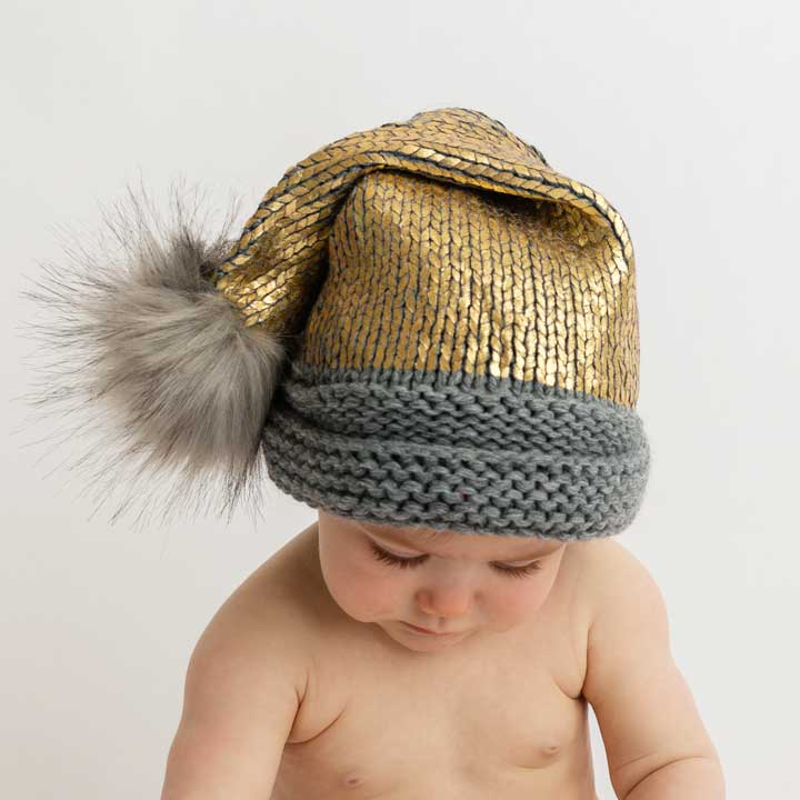 Gold Glimmer Santa Stocking Hat