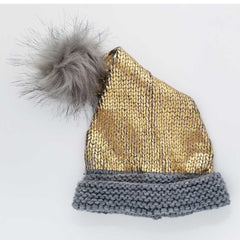 Gold Glimmer Santa Stocking Hat-Huggalugs