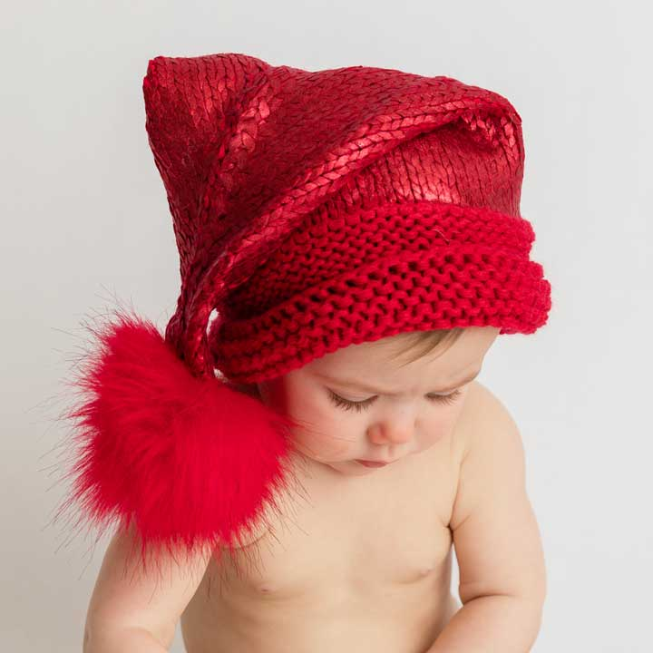 Red Glimmer Santa Stocking Hat