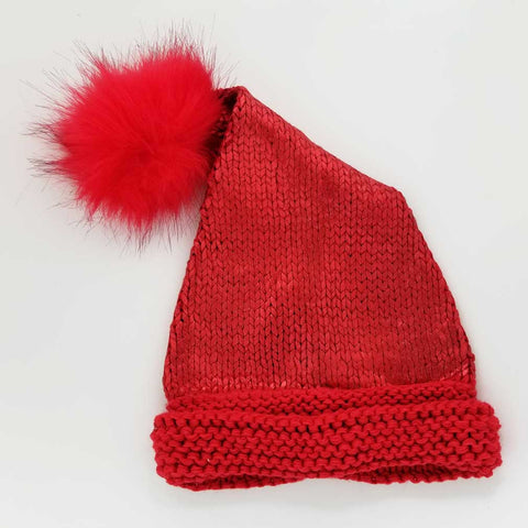 Red Glimmer Santa Stocking Hat-Huggalugs