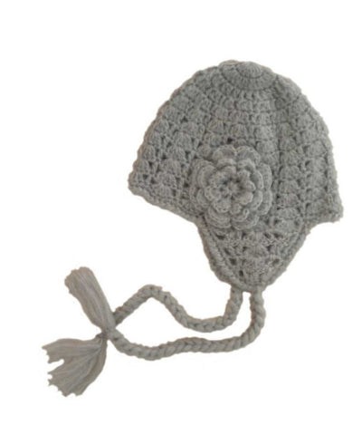 Grey Lacy Flowered Earflap Beanie-Huggalugs