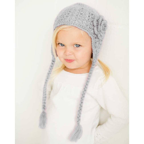 Grey Lacy Flowered Earflap Beanie - Beanie Hats