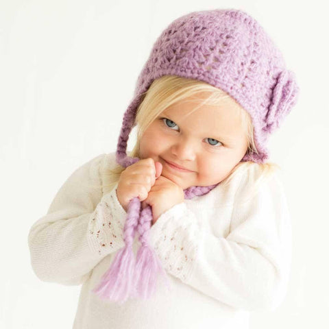 Lilac Lacy Flowered Earflap Beanie - Beanie Hats