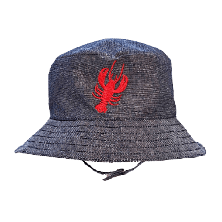 Lobster UPF 25+ Chambray Bucket Hat - Huggalugs-Sunhat