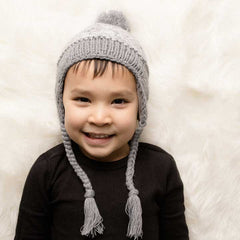 Marled Grey Earflap Beanie Hat - Lined with Fleece