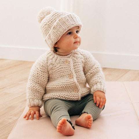 Huggalugs Baby or Toddler Boys or Girls Fisherman Cable Hooded Coat Sweater