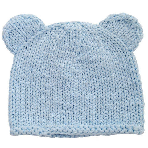 Newborn Blue Teddy Bear Beanie Hat - Huggalugs-Newborn Knits