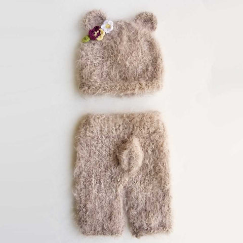Newborn Girl Bear Beanie Hat or Pants - Huggalugs-Newborn Knits
