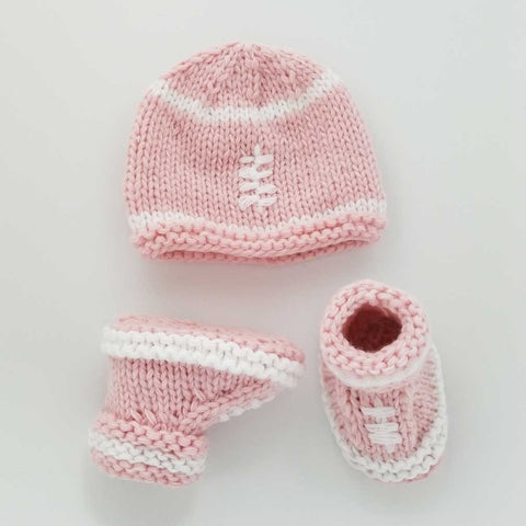 Newborn Pink Football Beanie Hat and Bootie Set - Huggalugs-Newborn Knits