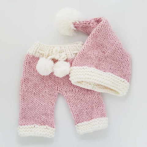 Newborn Pink Sparkle Santa Stocking Hat or 2pc Set - Huggalugs-Newborn Knits