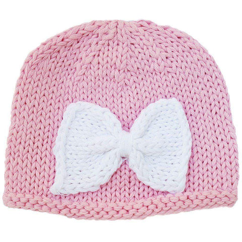 Newborn Pink with White Bow Beanie Hat - Huggalugs-Newborn Knits