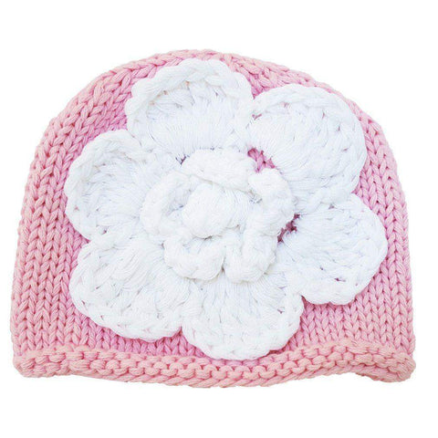 Newborn Pink with White Flower Beanie Hat - Huggalugs-Newborn Knits