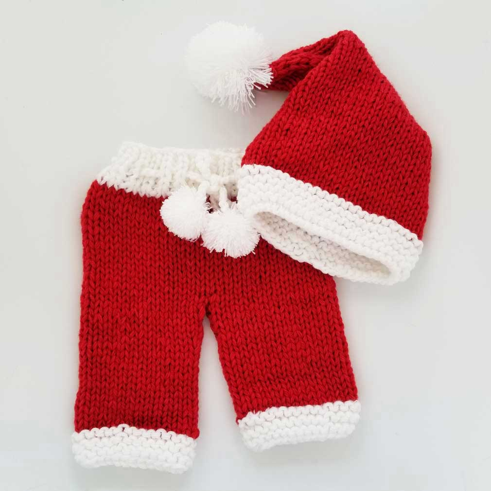 Newborn Red Santa Stocking Hat or 2 pc Set - Huggalugs-Newborn Knits