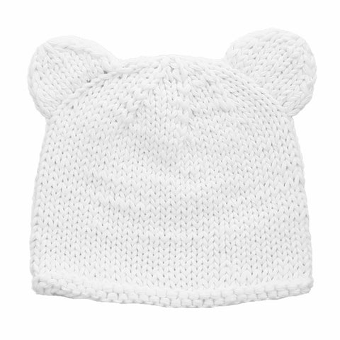 Newborn White Teddy Bear Beanie Hat - Huggalugs-Newborn Knits