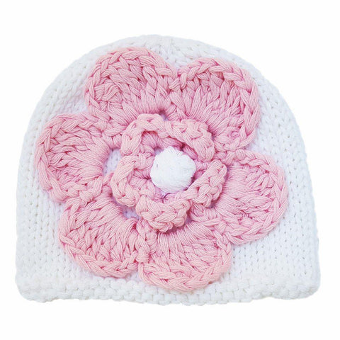 Newborn White with Pink Flower Beanie Hat - Huggalugs-Newborn Knits