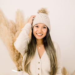Oatmeal Pop Pom Pom Beanie Hat