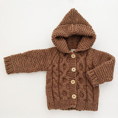Hooded Coat Sweater Pecan Brown