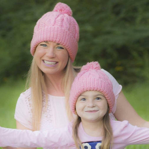 Peony Pink Cable Beanie - Beanie Hats