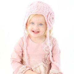 Pink Lacy Flowered Earflap Beanie - Beanie Hats