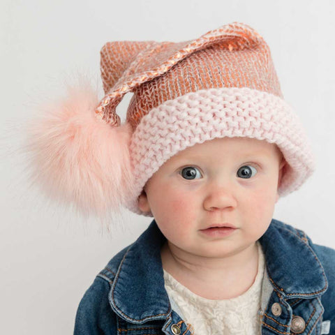Rose Gold Glimmer Santa Stocking Hat - Huggalugs-Beanie Hats