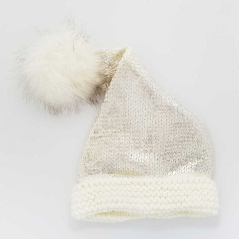 Silver Glimmer Santa Stocking Hat - Huggalugs-Beanie Hats