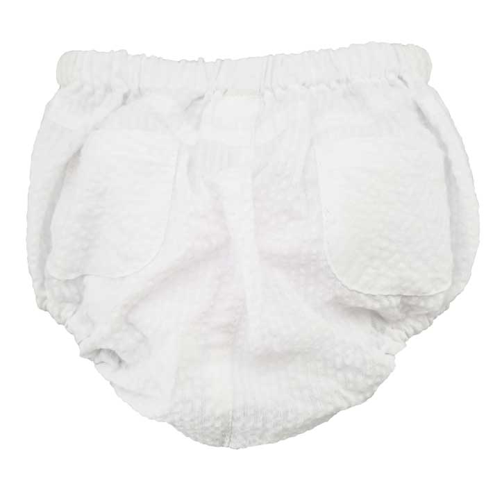White Seersucker Diaper Cover - Huggalugs-bloomer